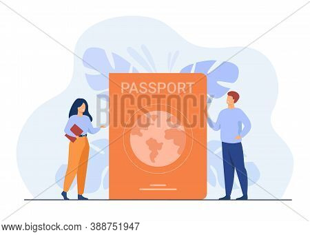 Person Getting Id Document. Tiny People Travelling With Foreign Passport. Flat Vector Illustration F
