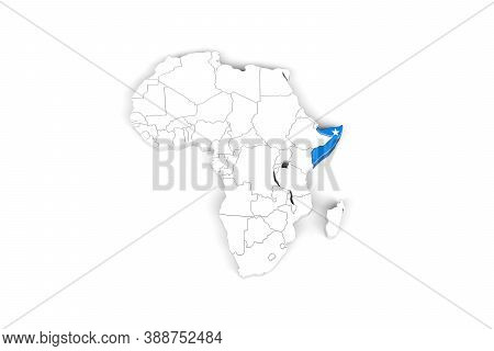 Africa 3d Map With Borders Marked - Somalia Area Marked With Somalia Flag - Isolated On White Backgr