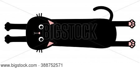 Black Cat. Long Body With Paw Print, Tail. Funny Face Head Silhouette. Meow. Cute Cartoon Baby Chara