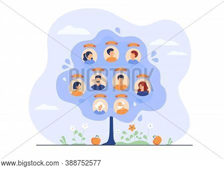 Family Tree Concept. Scheme Of Ancestry With Three Generations, Relatives Connection Data. Flat Vect
