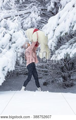 Happy Go Lucky Woman Playing In Snow Holding A Large Soft Toy In Her Arms, High Above Her Head In Sn