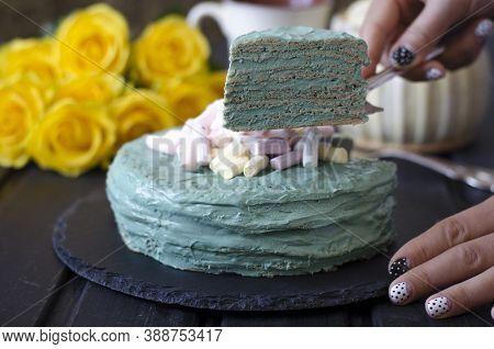 Pancake Cake With Sour Cream And Spirulina