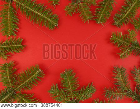 Christmas Flat Lay With Fir Tree Branches Frame On A Red Background And Copy Space Inside. Stock Pho