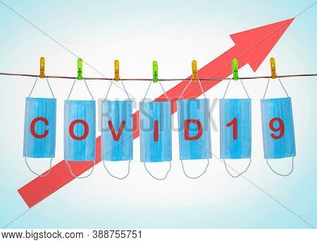 Masks For Prevention Coronavirus From Covid With Word Covid 19 And Growth Graf By Infection.