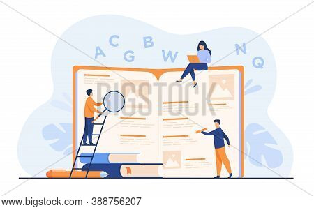 Students Learning Foreign Language With Vocabulary. Tiny People Reading Grammar Book. Flat Vector Il