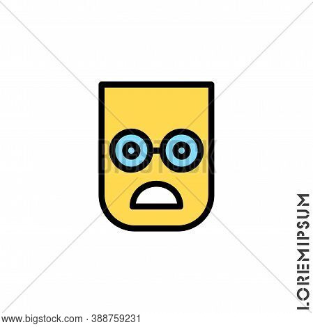 Frowning With Open Mouth Emoji Color Vector Icon. Frowning With Open Mouth Emoji Icon, Vector Simple