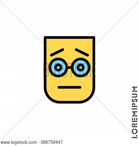 Cute Emoticon Sticker Color, Vector Illustration. Embarrassed Shy Blushing Face Emoticon Icon Vector
