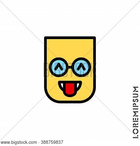 Teasing Emoji Color. Vector Icon Of Cartoon Teasing Emoji With Tongue And Winking Eyes In Style Emot