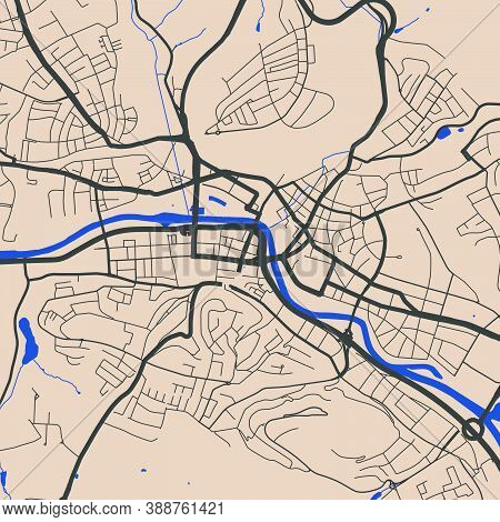 Detailed Map Of Saarbrucken City Administrative Area. Royalty Free Vector Illustration. Cityscape Pa