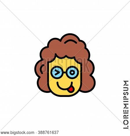 Winking Tongue Girl, Yellow Woman Emoji. Emoticon With Tongue Out And Winking Eye, While The Other I
