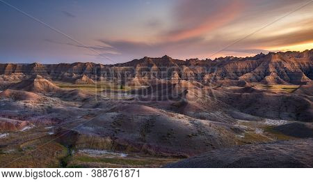 Pastel Late Afternoon Colors On Display In The Yellow Mounds Region Of Badlands National Park