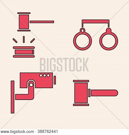 Set Judge Gavel, Judge Gavel, Handcuffs And Security Camera Icon. Vector