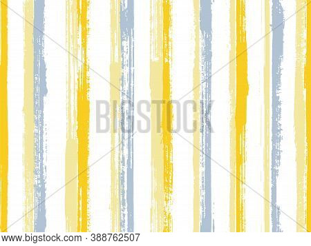 Watercolor Handdrawn Parallel Lines Vector Seamless Pattern. Artistic Interior Wall Decor Design. Re