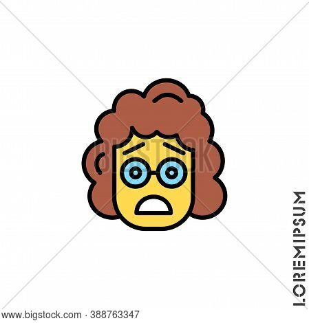 Frowning With Open Mouth Emoji Yellow Vector Girl, Woman Icon With Raised Eyebrows. Thin Line Black