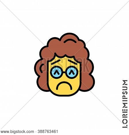 Sad And In A Bad Mood Yellow Emoticon Girl, Woman Icon Vector Illustration. Style. Depressed, Sad, S