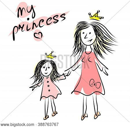 Vector Illustration. Mom And Daughter Are Holding Hands. Beautiful Pink Dresses On Mom And Daughter,
