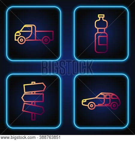 Set Line Car, Road Traffic Signpost, Pickup Truck And Bottle Of Water. Gradient Color Icons. Vector