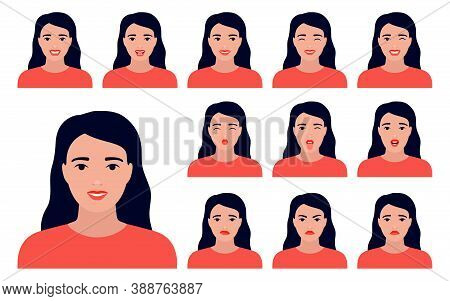 Young Woman With Different Emotions On Her Face. Facial Expression Set, Mood. Happy, Anger, Surprise
