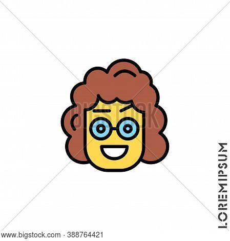 Happy Smile Eyes Open With A Raised Eyebrow Yellow Emoticon Girl, Woman Icon Vector Illustration. St