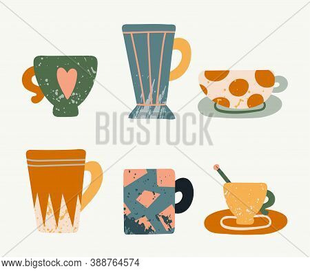 Tea Cup Set. Hand Drawn Textured Colorful Kitchen Cartoon Ceramic Tableware, Cups With Plate And Mug