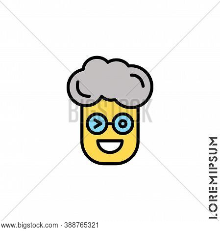 Winking Boy, Man Yellow Icon. Smile Emoticons Isolated On White Background. Vector Illustration. Win