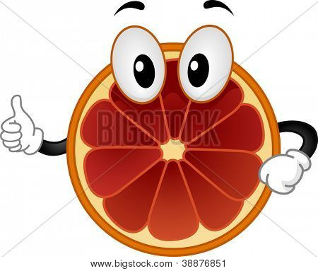Mascot Illustration Featuring a Blood Orange Doing a Thumbs Up