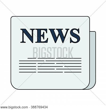 Newspaper Icon. Editable Outline With Color Fill Design. Vector Illustration.