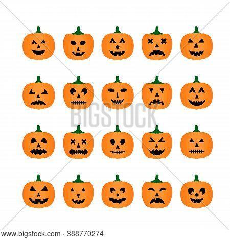 Halloween Pumpkins Faces Icon Set. Cute Cartoon Jack-o -lantern S Isolated On White. Halloween Party