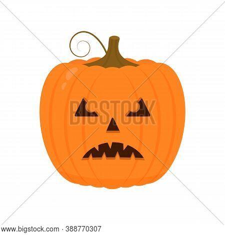 Halloween Pumpkin With Scary Face Icon Isolated On White. Cute Cartoon Jack-o -lantern. Halloween Pa