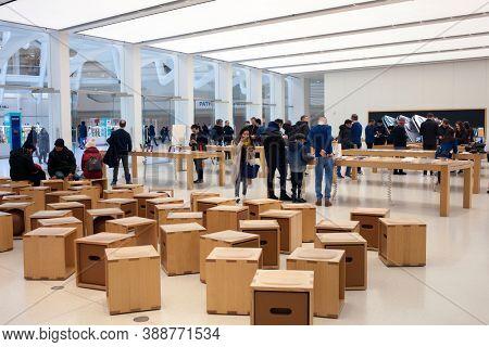 NEW YORK - February 2020: Apple store in Oculus, World Trade Center Transportation Hub in New York, USA