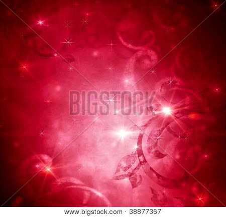 Christmas Holiday Red Vintage Abstract Background with Christmas Stars