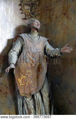 PREPOLNO, CROATIA - JULY 01, 2013: Saint Francis Xavier, high altar statue at Our Lady of Sorrows Chapel in Prepolno, Croatia