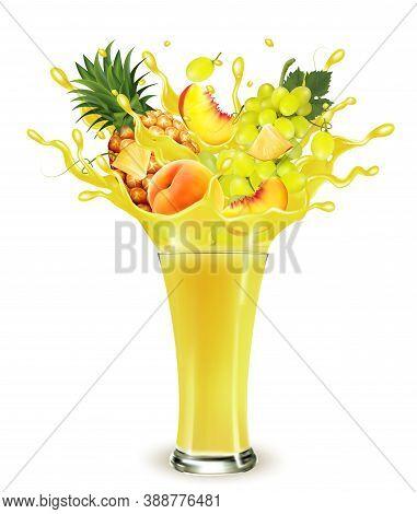 Yellow Fruit Juice Splash. Whole And Sliced Pineapple, Mango, Peach And Grape  In A Sweet Yellow Jui