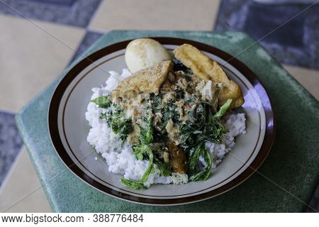 Letok Or Sambal Tumpang, Looks Similar With Pecel, Traditional Food From East Java And Central Java,