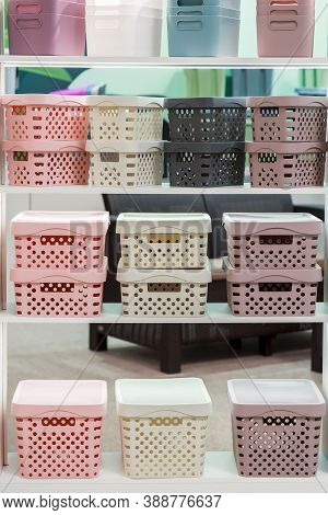 Organization Of Home Space, Storage And Coziness, A Lot Of Plastic Household Goods, New Clean Contai
