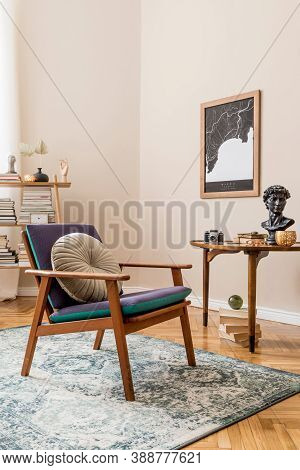 Interior Design Of Stylish Library Room With Retro Armchair, Wooden Table, Bookstand, Books, Mock Up