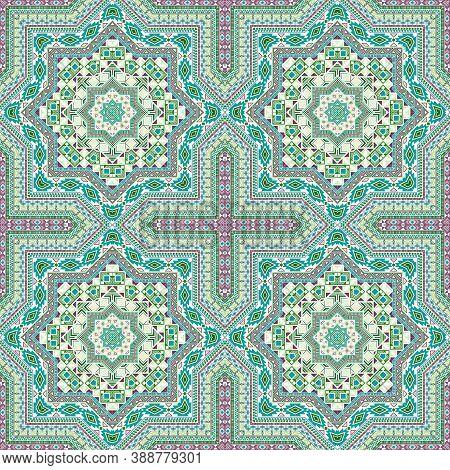 Beautiful Moroccan Zellige Tile Seamless Ornament. Ethnic Structure Vector Motif. Ceramics Print Des