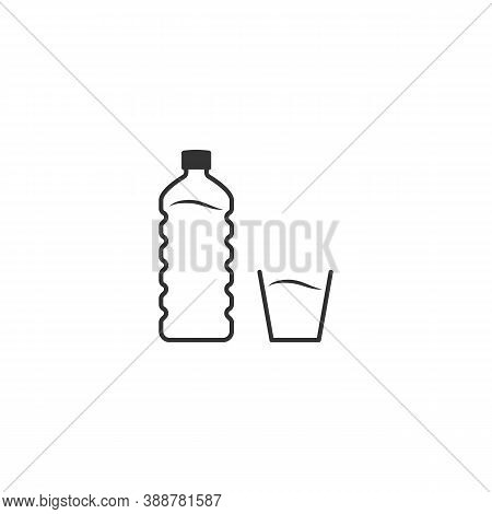 Plastic Bottle And Glass Of Water. Line Icon. Embossed Bottle. Flat Design