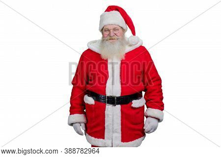 Smiling Santa Claus On White Background. Studio Shot Of Realistic Santa Claus With Real Beard Standi