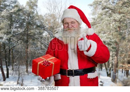 Santa Claus With Present Box Outdoors. Authentic Santa Claus Holding Red Gift Box And Giving Thumb U