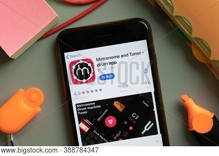 New York, Usa - 29 September 2020: Metronome And Tuner Drum Mobile App Logo On Phone Screen Close Up