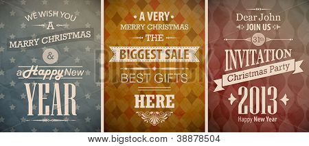 Christmas vintage set - retro greeting cards. Vector illustration.
