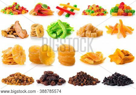 Large Collection Of Dried And Candied Fruit For Snacks Isolated, Set Of Dried Fruit Candied Fruits,