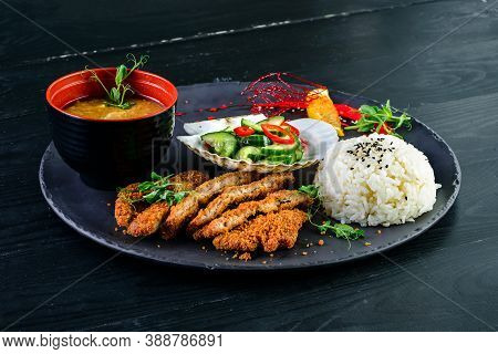 Japanese Lunch Set Food. Deep Fried Chicken Or Karake With Teriyaki Sauce, Rice With Miso Soup And S