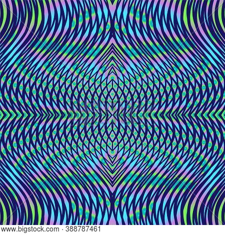 Vector Geometric Psychedelic Linear Background With Optical Illusion Of Wavy Lines And Moire Effect.