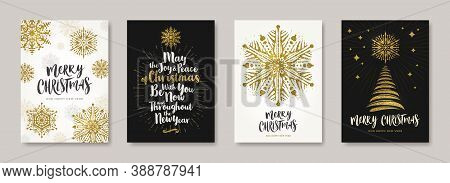 Christmas Greeting Card With Glitter Gold Snowflakes, Christmas Tree And Holiday Wishes. Set Of Chri