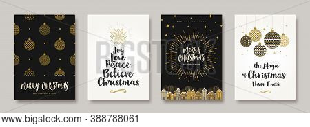 Set Of Christmas And New Year Greeting Card.  Background With Christmas Decor. Vector Illustration.