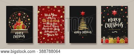Set Of Christmas And New Year Greeting Card.  Background With Christmas Tree And Decor. Vector Illus