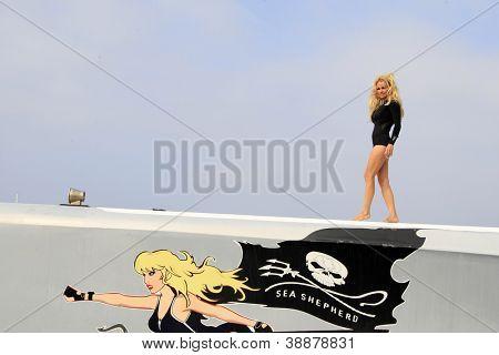 LOS ANGELES - NOV 2:  Pamela Anderson at the Sea Shepherd's Operation Zero Tolerance Antarctic whale defense campaign press conference on November 2, 2012 in Fisherman's Village, Los Angeles, CA