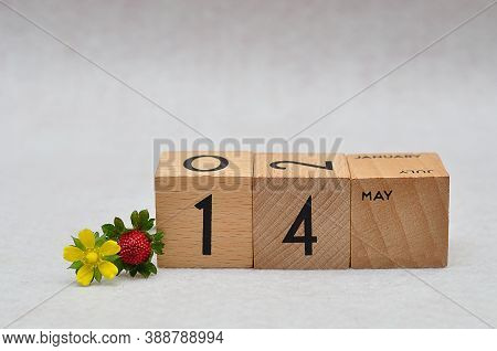 14 May On Wooden Blocks With A Strawberry And Yellow Flower On A White Background